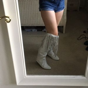 Shoes - White fringe knee high boots